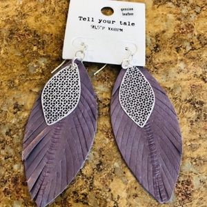 boho genuine leather fringe earrings